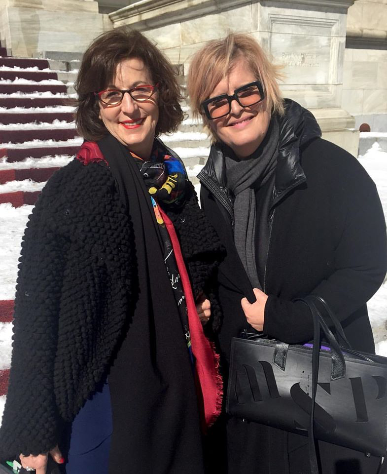 Janice Zolf and Marie Saint Pierre outside the Montreal Museum of Fine Arts.