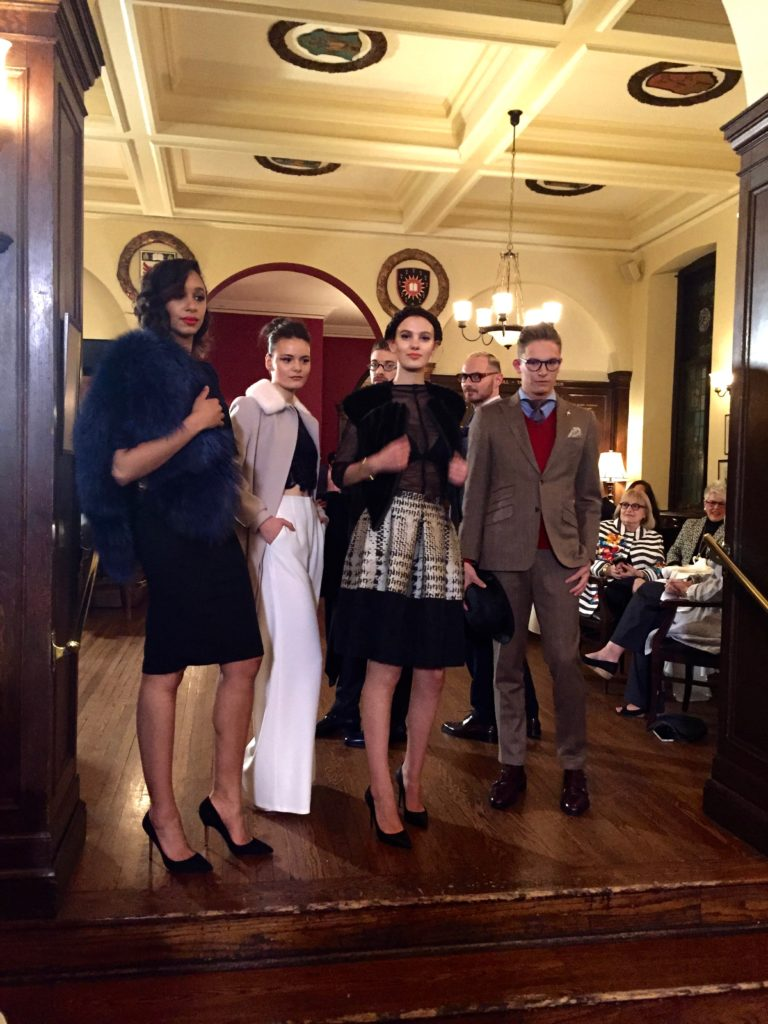 A group of models at the University Club, wearing Di Carlo Couture, Maison Eläma, and for him, Finezza.