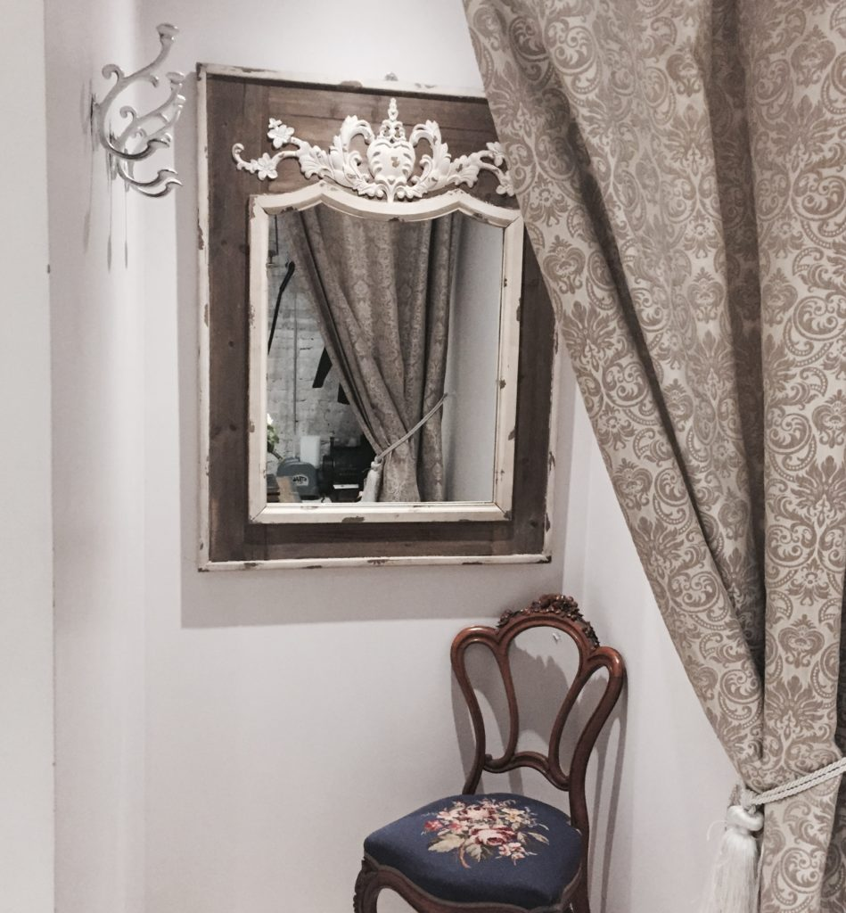 Shabby chic decor is all part of the charm.