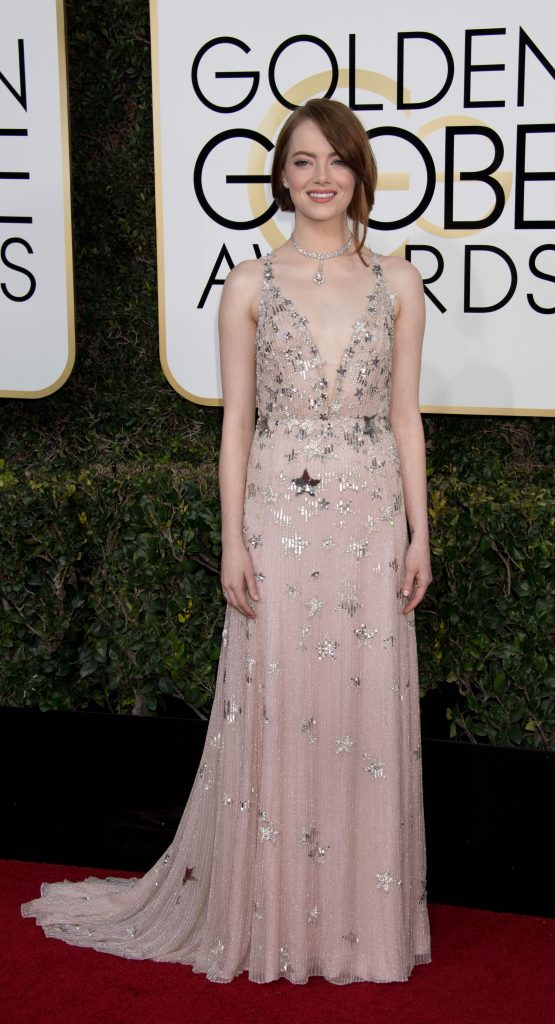 "Nominated for BEST PERFORMANCE BY AN ACTRESS IN A MOTION PICTURE – COMEDY OR MUSICAL for her role in ""La La Land,"" actress Emma Stone attends the 74th Annual Golden Globes Awards at the Beverly Hilton in Beverly Hills, CA on Sunday, January 8, 2017."