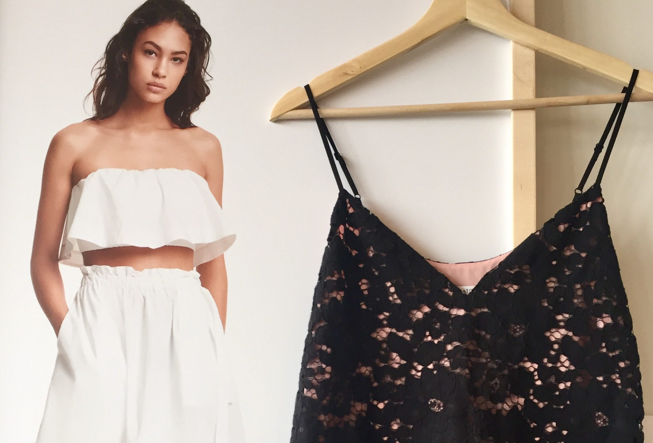Voluminous whites, black lace by Aritzia.