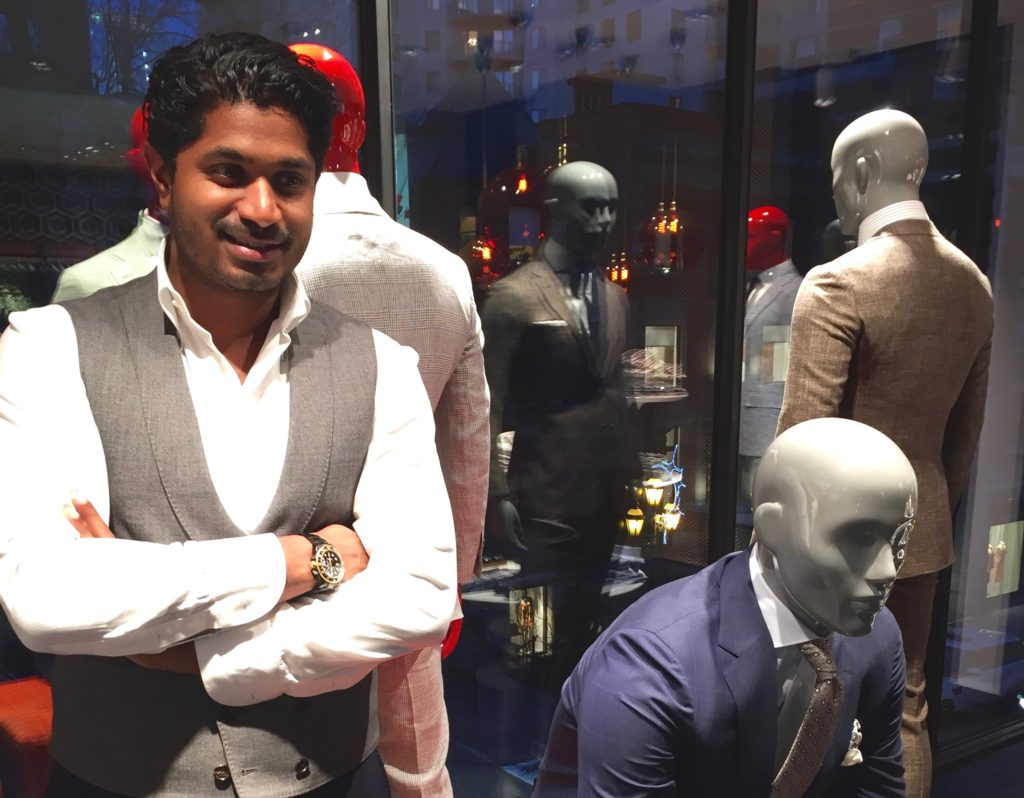 Nish de Gruiter at the launch party of Suitsupply in Montreal.